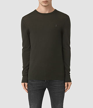 Hombres Mode Merino Crew Jumper (Shadow Green) -