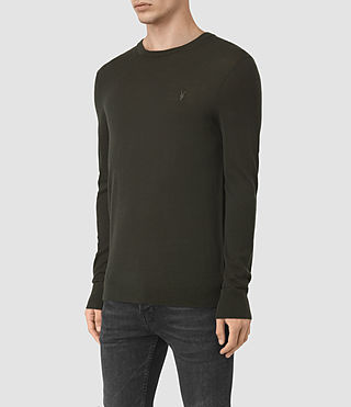 Hombres Mode Merino Crew Jumper (Shadow Green) - product_image_alt_text_3