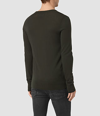 Hombres Mode Merino Crew Jumper (Shadow Green) - product_image_alt_text_4