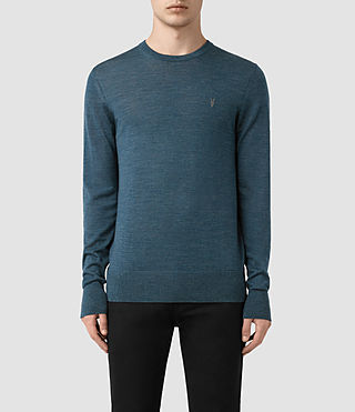 Hombres Mode Merino Crew Jumper (UNIFORM BLUE)