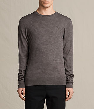 Hombres Mode Merino Crew Jumper (COAL GREY MARL) -