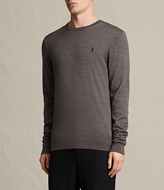 Hombres Mode Merino Crew Jumper (COAL GREY MARL) - product_image_alt_text_3