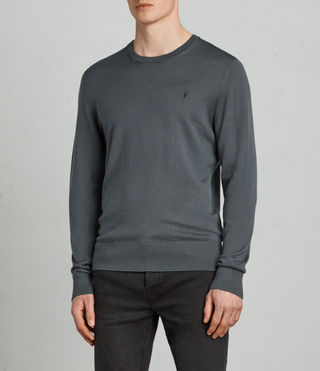 Mens Mode Merino Crew Sweater (FLINT GREEN) - product_image_alt_text_1