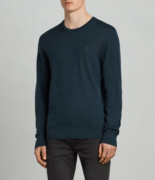 Mens Mode Merino Crew Sweater (OIL BLUE) - Image 1