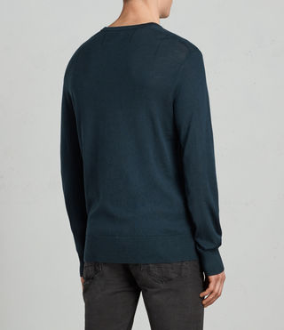Herren Mode Merino Crew Jumper (OIL BLUE) - Image 3