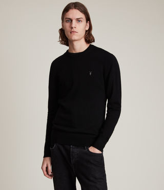 Mens Mode Merino Crew Sweater (Black) - product_image_alt_text_1