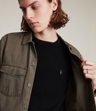 Men's Mode Merino Crew Jumper (Black) - product_image_alt_text_2