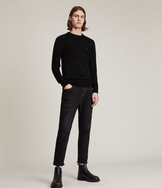 Men's Mode Merino Crew Jumper (Black) - product_image_alt_text_3