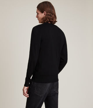 Herren Mode Merino Crew Jumper (Black) - product_image_alt_text_4