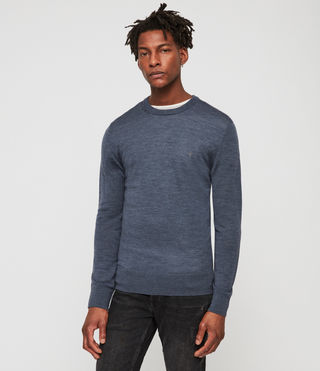 Mens Mode Merino Crew Sweater (WASHED NAVY MARL) - Image 1