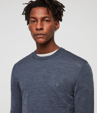 Mens Mode Merino Crew Sweater (WASHED NAVY MARL) - Image 2