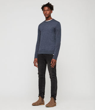 Mens Mode Merino Crew Sweater (WASHED NAVY MARL) - Image 3