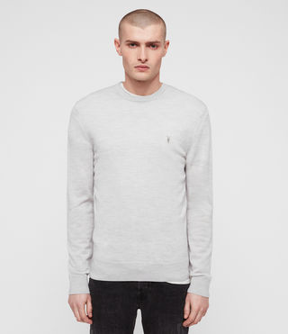 Mens Mode Merino Crew Sweater (Light Grey Marl) - product_image_alt_text_1