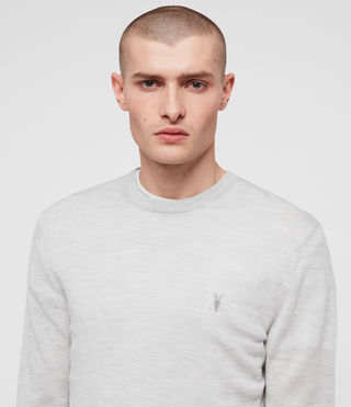 Hommes Mode Merino Crew (Light Grey Marl) - product_image_alt_text_2
