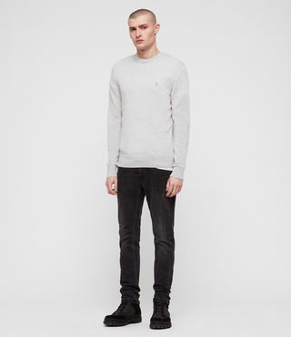 Hommes Mode Merino Crew (Light Grey Marl) - product_image_alt_text_3