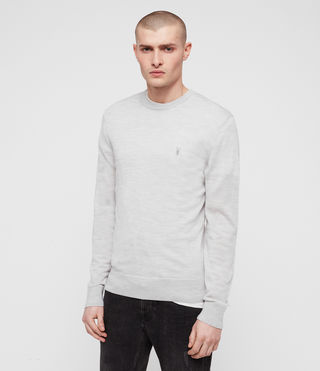 Mens Mode Merino Crew Sweater (Light Grey Marl) - product_image_alt_text_4