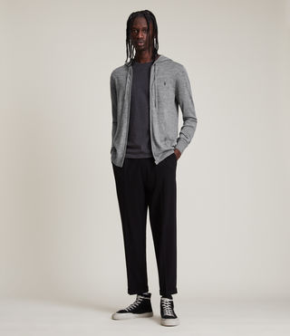Mens Mode Merino Zip Hoodie (Grey Marl) - Image 3