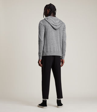 Mens Mode Merino Zip Hoodie (Grey Marl) - Image 4