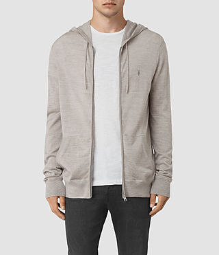 Hommes Mode Merino Zip Hoody (Smoke Grey Marl) -
