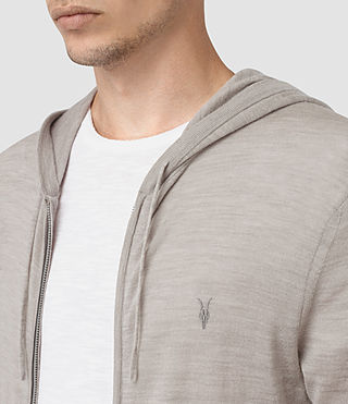 Hommes Mode Merino Zip Hoody (Smoke Grey Marl) - product_image_alt_text_2