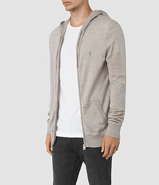 Hombres Mode Merino Zip Hoody (Smoke Grey Marl) - product_image_alt_text_3