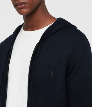 Herren Mode Merino Zip Hoody (INK NAVY) - product_image_alt_text_2