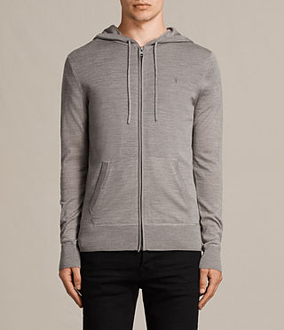 Hommes Mode Merino Zip Hoody (PUTTY GREY MARL) -