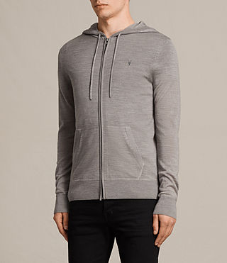 Hommes Mode Merino Zip Hoody (PUTTY GREY MARL) - product_image_alt_text_3