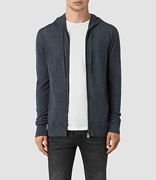 Hombres Mode Merino Zip Hoody (WORKERS BLUE MARL)