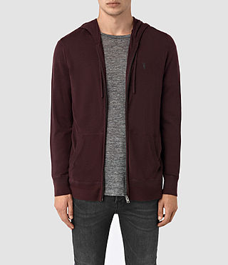 Hombre Mode Merino Zip Hoody (Damson Red) - product_image_alt_text_1