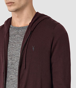 Hommes Mode Merino Zip Hoody (Damson Red) - product_image_alt_text_2
