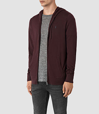 Hommes Mode Merino Zip Hoody (Damson Red) - product_image_alt_text_3