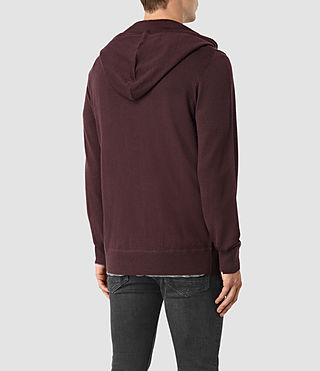 Hommes Mode Merino Zip Hoody (Damson Red) - product_image_alt_text_4