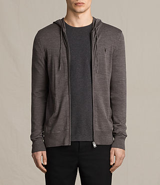 Hombres Mode Merino Zip Hoody (COAL GREY MARL)