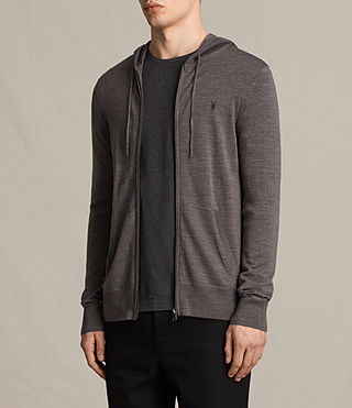 Hommes Mode Merino Zip Hoody (COAL GREY MARL) - product_image_alt_text_3