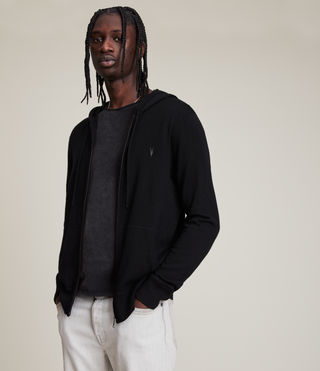 Hommes Sweat à capuche Mode Merino (Black) -