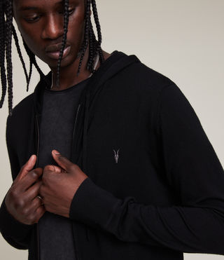 Mens Mode Merino Zip Hoody (Black) - Image 2