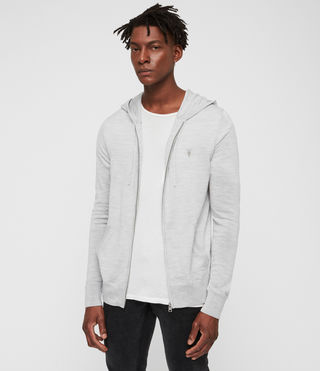 Men's Mode Merino Zip Hood (Light Grey Marl)