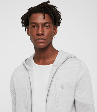 Men's Mode Merino Zip Hoody (Light Grey Marl) - product_image_alt_text_2