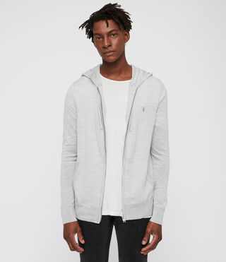 Men's Mode Merino Zip Hoody (Light Grey Marl) - product_image_alt_text_3