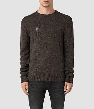 Mens Aktarr Crew Sweater (Khaki Brown) - product_image_alt_text_1