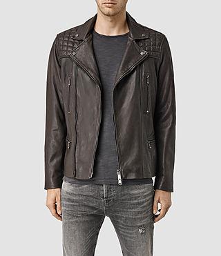 Mens Rowley Leather Biker Jacket (Bitter Brown)