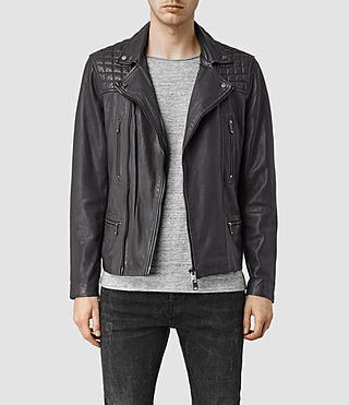 Mens Rowley Leather Biker Jacket (ANTHRACITE GREY)