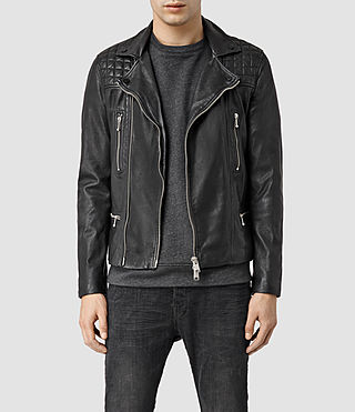 Hombre Rowley Leather Biker Jacket (Black)