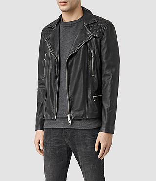 Mens Rowley Leather Biker Jacket (Black) - product_image_alt_text_2