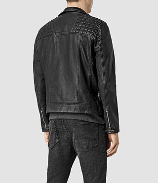 Mens Rowley Leather Biker Jacket (Black) - product_image_alt_text_3