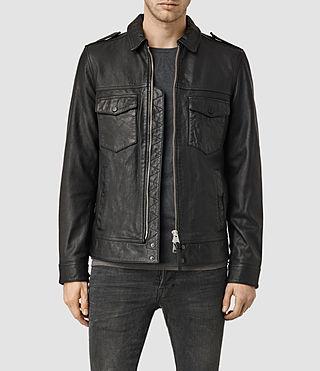 Mens Houston Leather Jacket (Black)