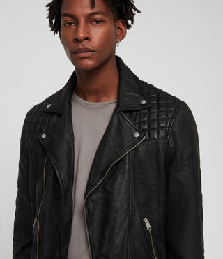Mens Taro Leather Biker Jacket (Black) - Image 2