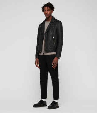 Mens Taro Leather Biker Jacket (Black) - Image 3