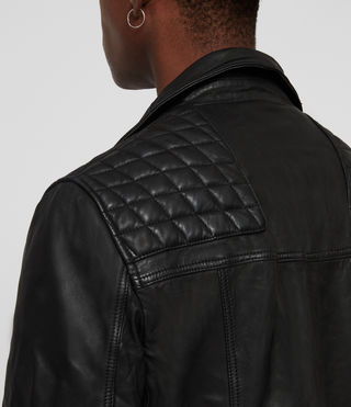 Mens Taro Leather Biker Jacket (Black) - Image 5